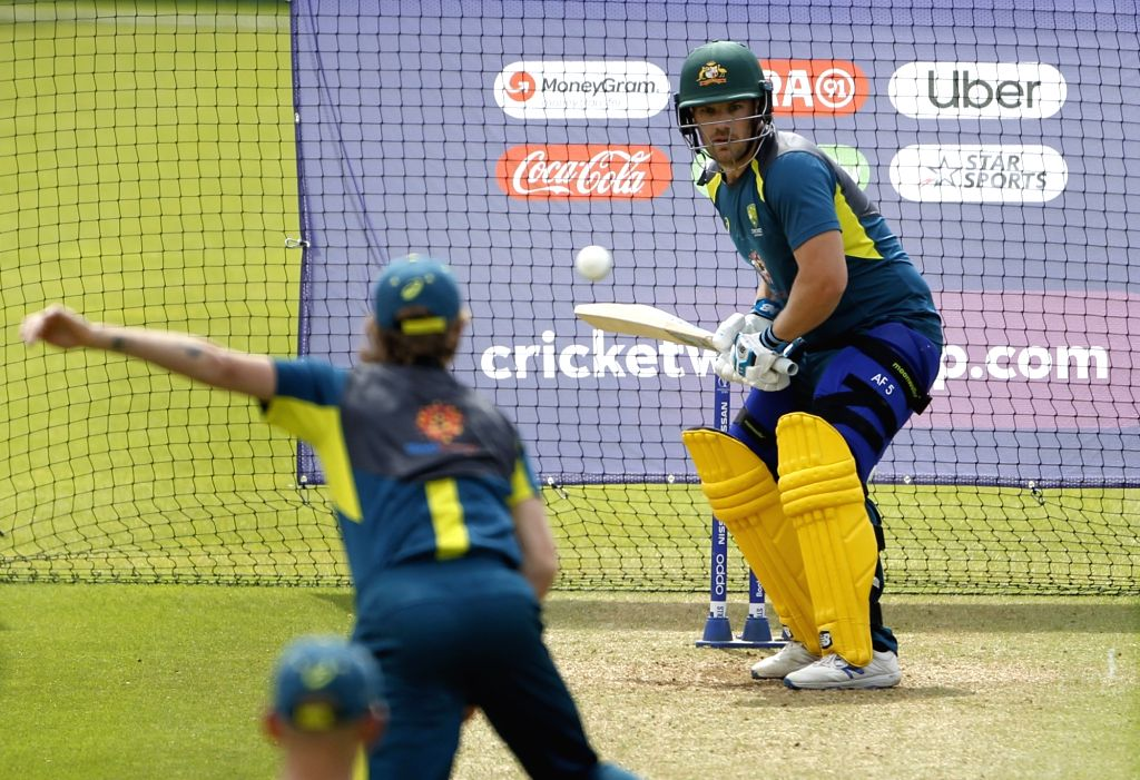 Australian skipper Aaron Finch during a practice session ahead of their 2019 ICC Cricket World Cup match against India, at the Oval in London on June 8, 2019.