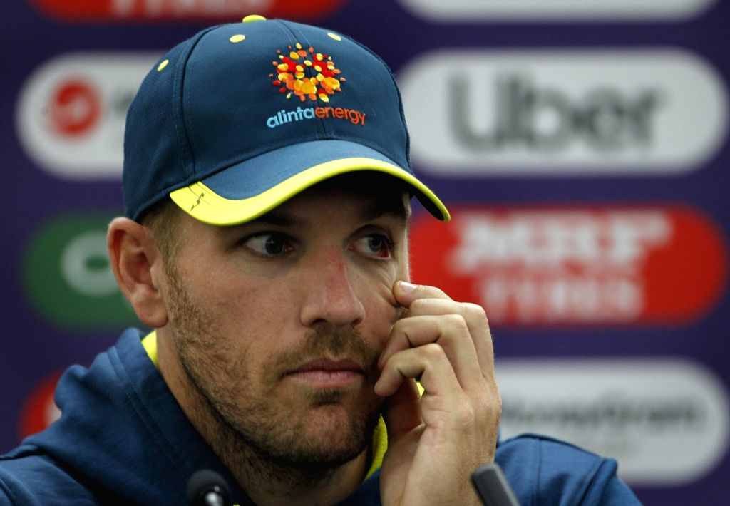 Australian skipper Aaron Finch during a press conference ahead of his team's 2019 ICC Cricket World Cup match against India, at the Oval in London on June 8, 2019.