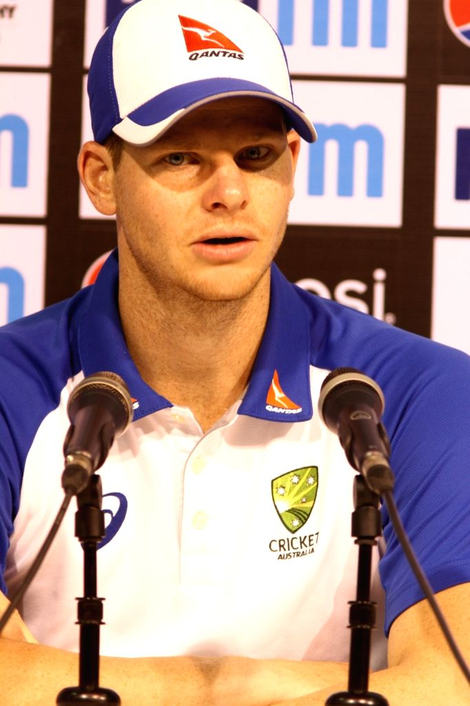 Australian skipper Steve Smith addresses a press conference in Chennai on Sept 16, 2017.