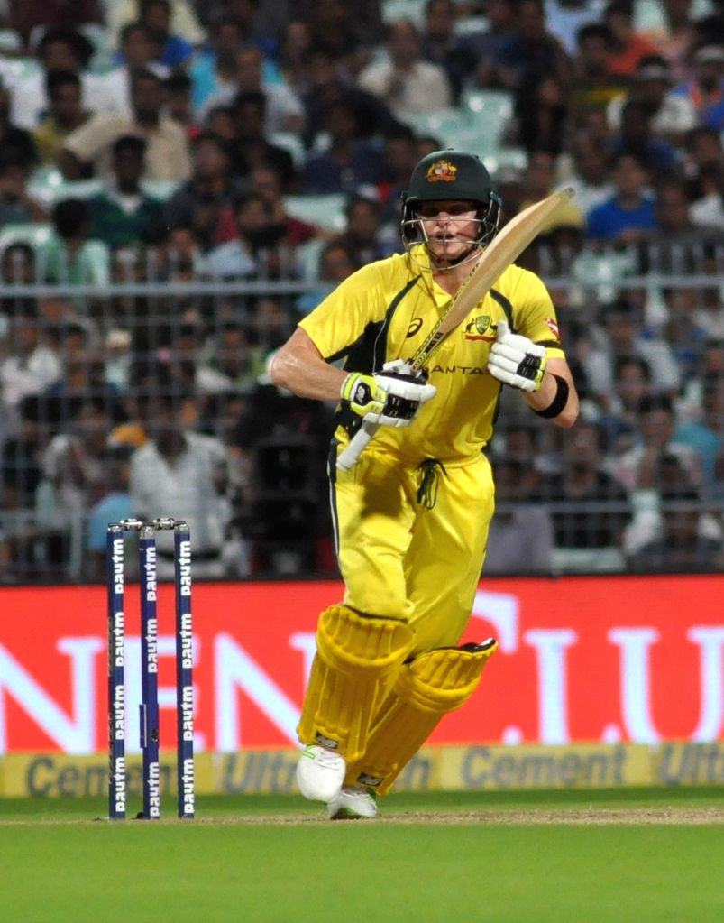 Australian skipper Steve Smith in action during the second ODI cricket match between India and Australia at Eden Gardens in Kolkata on Sept 21, 2017.