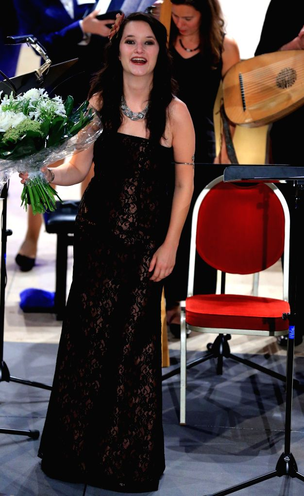 Austrian-English singer Anna Prohaska responds to the applause at the end of her concert during the Rheingao Music Festival at St. Peter und Paul in Hofheim, ...
