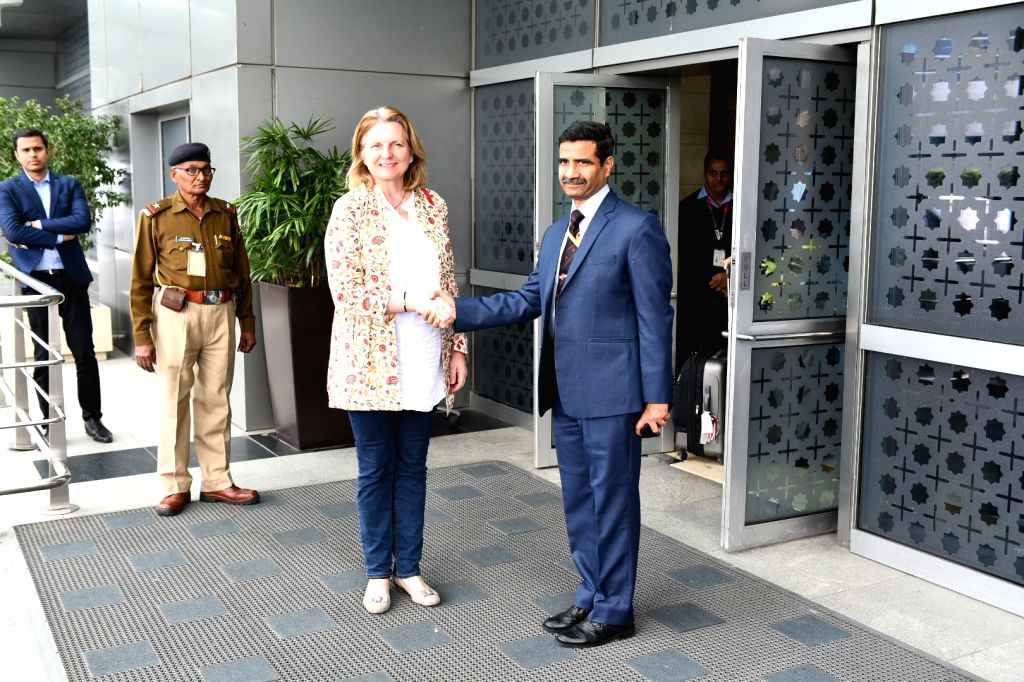 Austrian Federal Minister for Europe, Integration and Foreign Affairs Karin Kneissl arrives in New Delhi, on Feb 25, 2019.