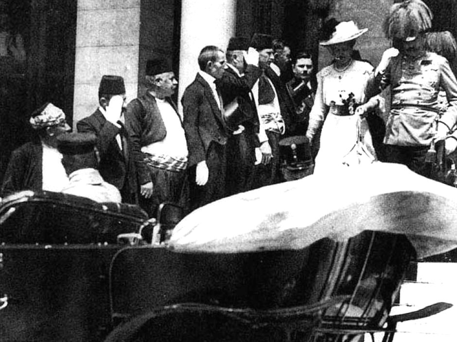 Austro-Hungarian Archduke Franz Ferdinand and his consort, Sophie, leave Sarajevo Town Hall on June 28, 1914 for what would be a fatal ride.