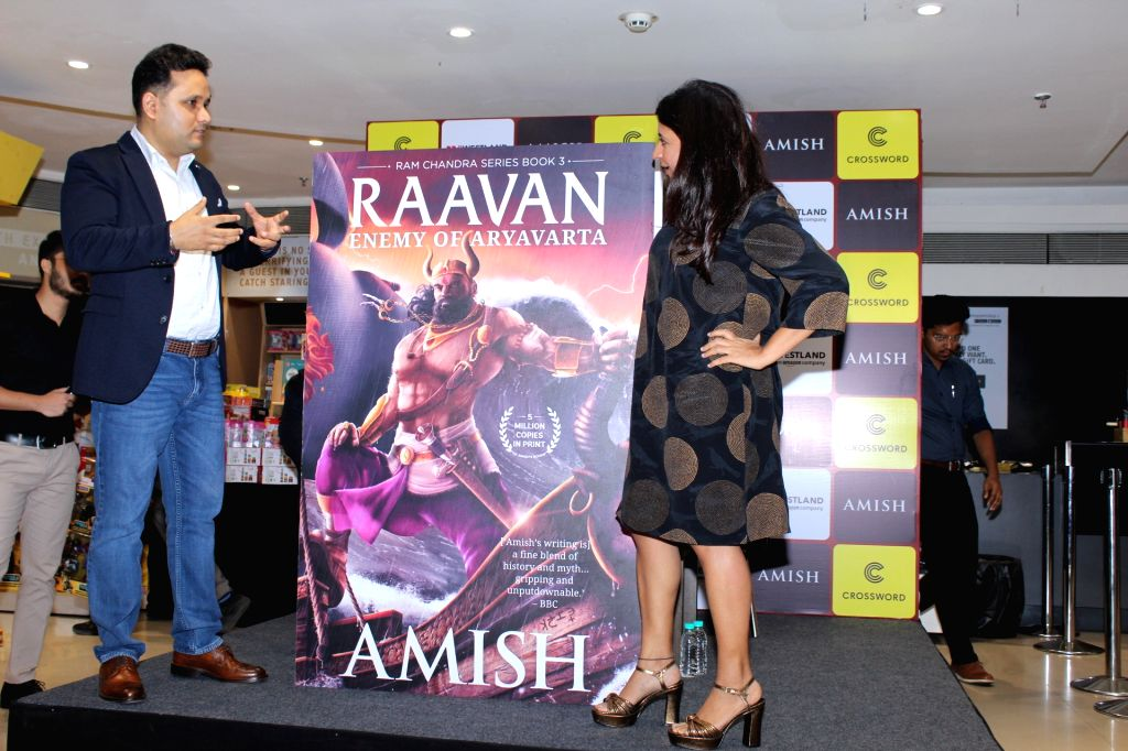 Author Amish Tripathi with director Zoya Akhtar at his book launch, in Mumbai, on June 3, 2019. - Zoya Akhtar and Amish Tripathi
