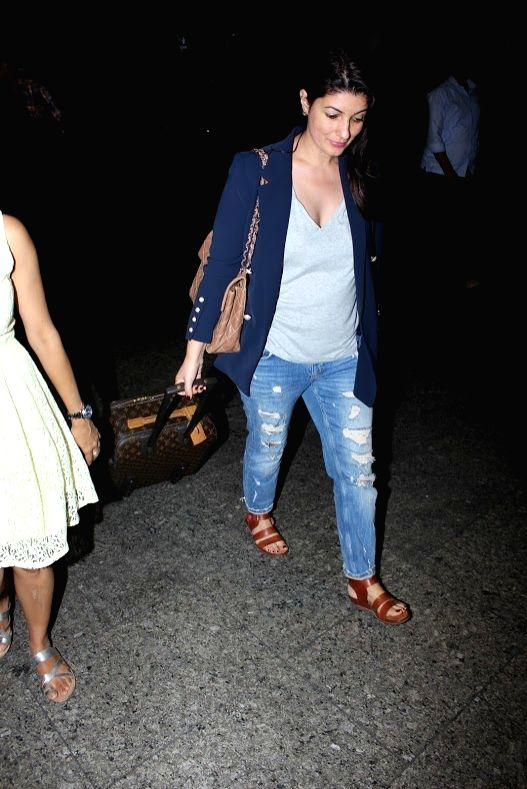Author and former actress Twinkle Khanna was spotted at the Mumbai airport, on June 2, 2017. - Twinkle Khanna