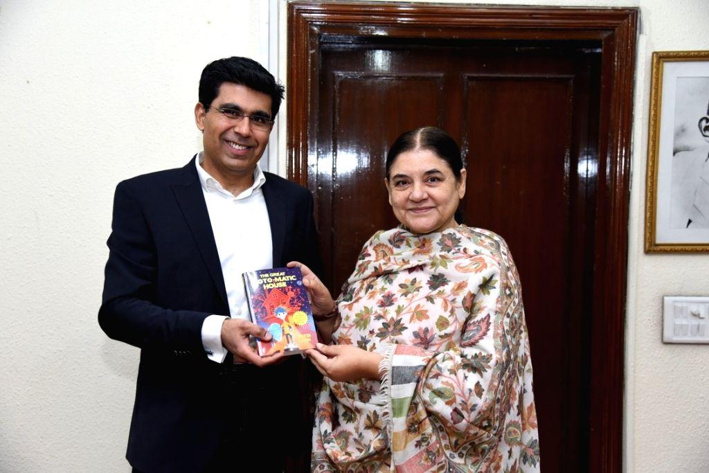 Author Brijesh Luthra with Union Women and Child Development Minister Maneka Gandhi. - Maneka Gandhi