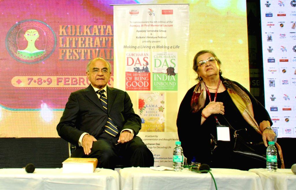 Author Gurcharan Das and Apeejay Oxford Bookstores Director Maina Bhagat at 43rd Kolkata International Book Fair, in Kolkata on Feb 8, 2019.