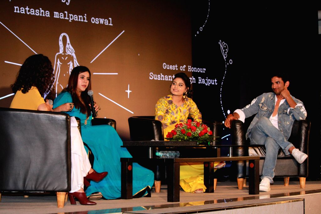 "Author Natasha Malpani Oswal with tv producer Ekta Kapoor and actor Sushant Singh Rajput at the launch of her book ""Boundless"", in Mumbai, on April 10, 2019. - Sushant Singh Rajput and Ekta Kapoor"