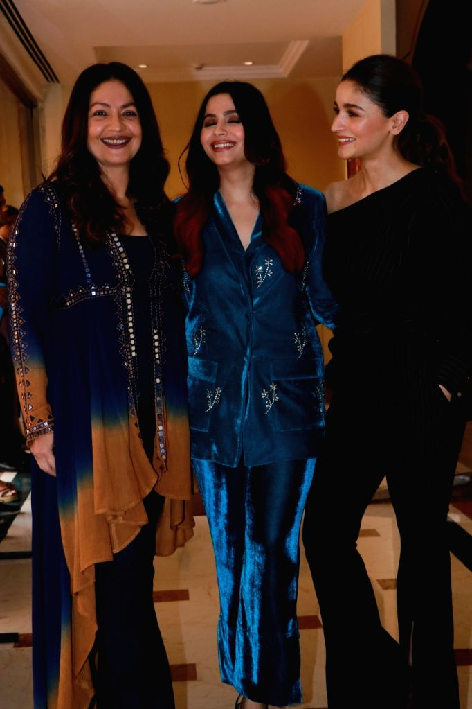 "Author Shaheen Bhatt with her sisters Alia Bhatt and Pooja Bhatt at the launch of her book ""I've Never Been (un)Happier"" in Mumbai on Dec 4, 2019."