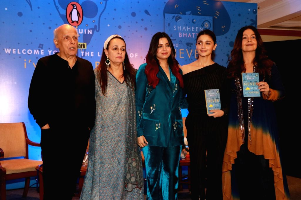"Author Shaheen Bhatt with his parents Mahesh Bhatt, Soni Razdan and sisters Alia Bhatt and Pooja Bhatt at the launch of her book ""I've Never Been (un)Happier"" in Mumbai on Dec 4, 2019."
