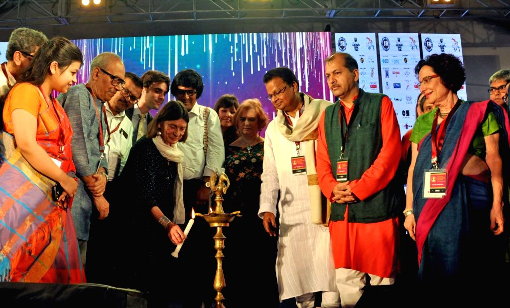Author Shirshendu Mukhopadhyay with Publishers and Booksellers Guild General Secretary, Tridib Chatterjee and President Sudhangshu Dey during the inauguration of the 5th Edition of ... - Tridib Chatterjee