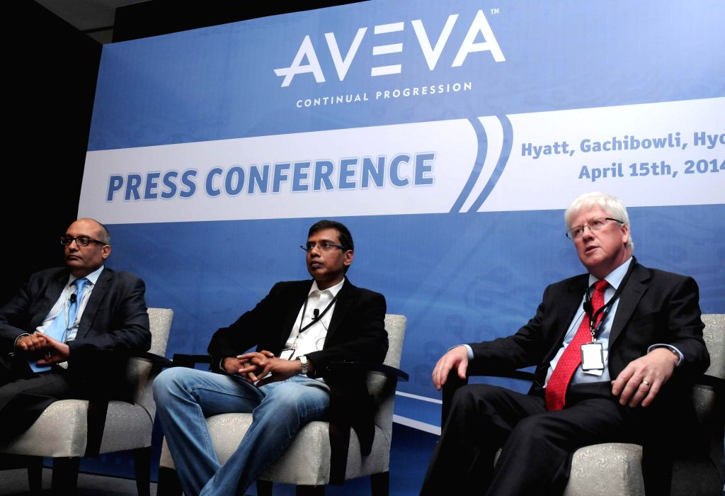 Aveva Senior Vice President Navtej Garewal, Aveva India Head Natarajan, and Aveva CTO and Head of Engineering and Design Systems Dave Wheeldon during a press conference in Hyderabad on April 15, ...