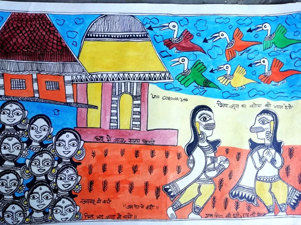 Awareness on COVID-19 through Madhubani paintings.