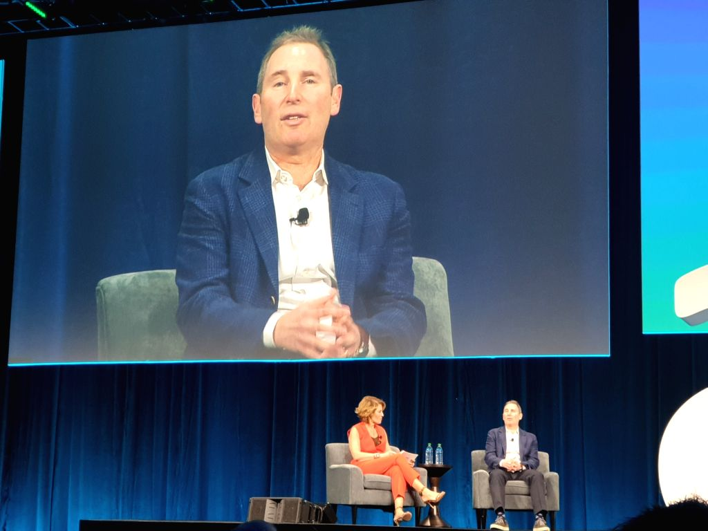 AWS CEO Andy Jassy on stage at AWS Public Sector Summit in Washington, DC, on June 12.