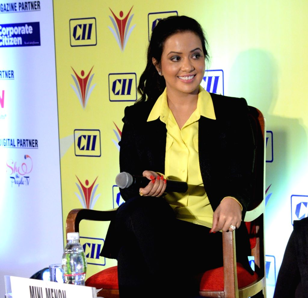 Axis Bank Deputy Vice President Amruta Fadnavis at the CII-Indian Women Network's summit on 'WomeNation – The Power of Us' in Mumbai on Sept 30, 2016.