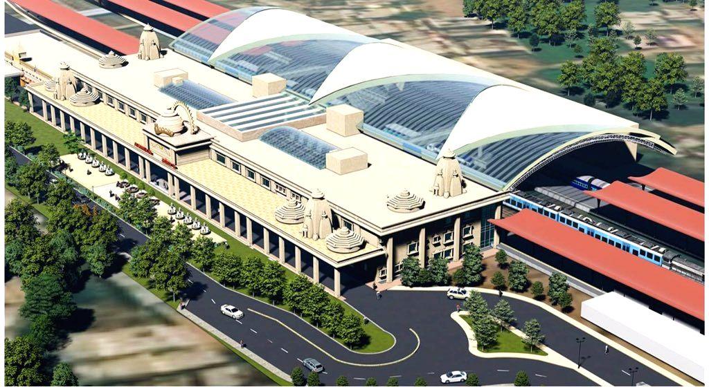 Ayodhya railway station - A replica of Ram temple.