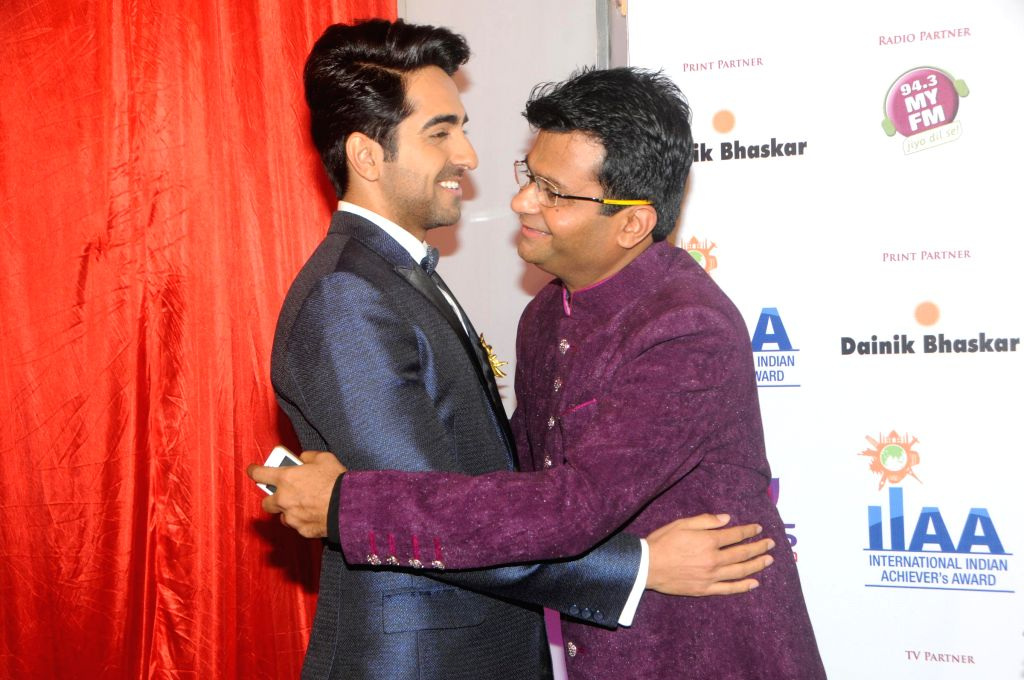 Ayushman Khurana with Aneel Murarka during the International Indian Achiever`s Award 2014 presented by YES BANK in Mumbai on July 28, 2014.