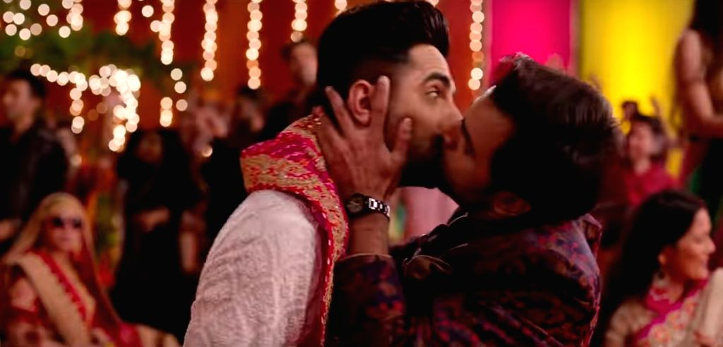 """Ayushmann Khurrana's lip-lock with co-star Jitendra Kumar is the highlight moment of """"Gabru"""", the first-launched track of the upcoming comedy """"Shubh Mangal Zyada Saavdhan"""". The song, released on Monday, is a recreated version of the Yo Yo Honey Singh - Jitendra Kumar and Singh"""