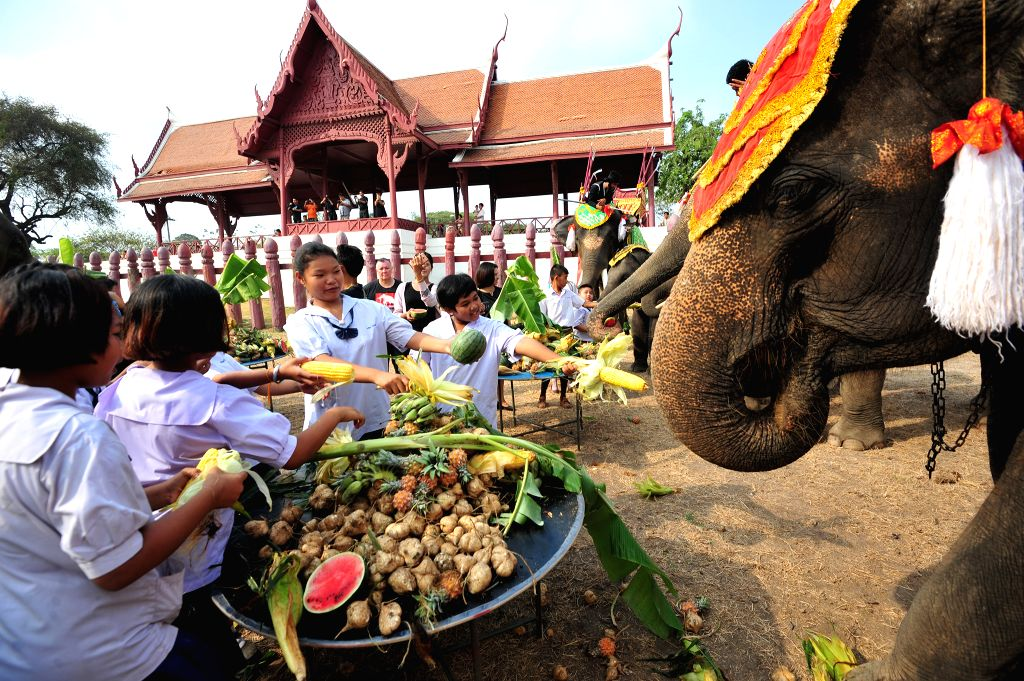 AYUTTHAYA, March 13, 2017 - Local students feed an Asian elephant with fruits during an elephant buffet marking the Thai National Elephant Day in Ayutthaya, Thailand, March 13, 2017. Thailand ...