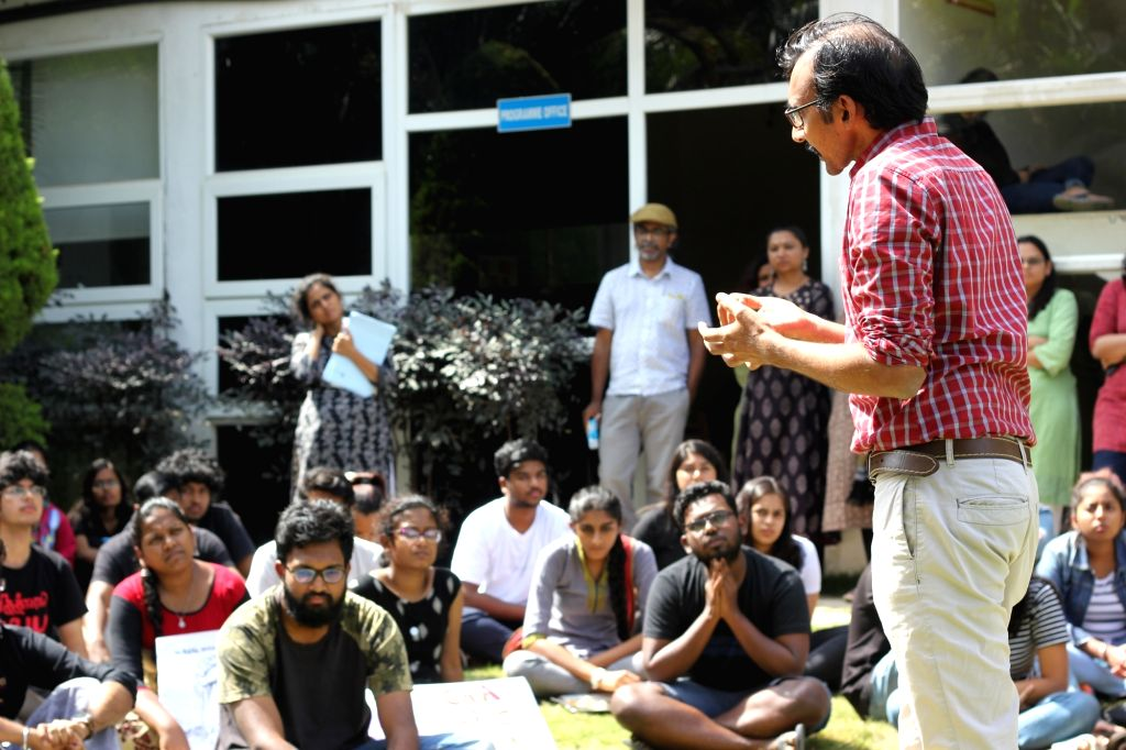 Azim Premji University students and faculty members protest CAA, NCR and NPR in Bengaluru.