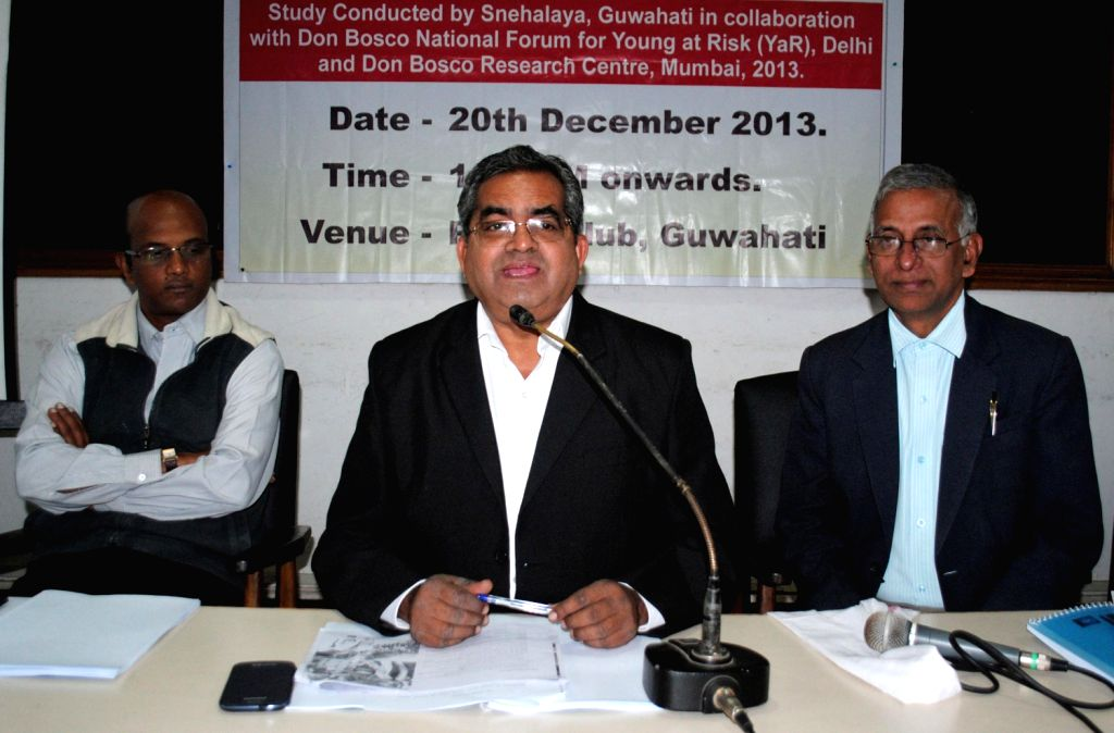 B M Thomas of Don Bosco Society addresses a press conference regarding the release of `Rapid Assessment of Street Children of Guwahati`,  in Guwahati on Dec.20, 2013.