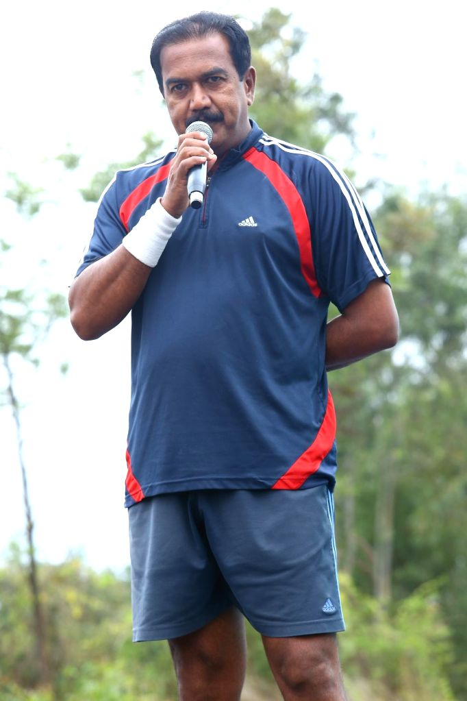 B.N.S.Reddy (IPS), Director, Security & Vigilance addresses during GFK Run organised in Bangalore on Sept 8, 2014.