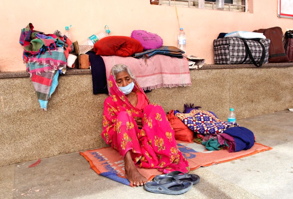 Baadama Devi Wife of Baba ka dhaba Kanta Prasad sitting outside Safdarjung Hospital emergency after Baba admitted on ICU ward last night, He was attempt to suicide in New Delhi on Friday ...