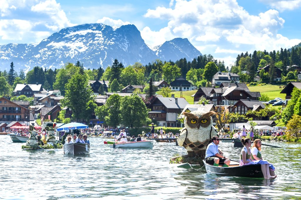 BAD AUSSEE (AUSTRIA), June 2, 2019 The photo taken on June 2, 2019 shows a float parade on water during the Daffodil Festival in Bad Aussee, Austria. The Daffodil Festival takes place ...