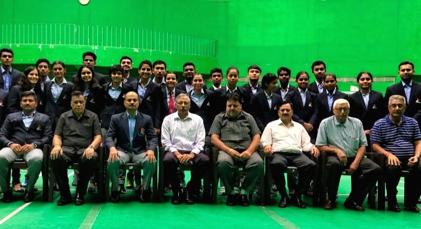 Badminton Association of India (BAI) Senior Vice President Devender Singh and General Secretary Ajay K. Singhania along with the Indian Junior Squad during the send off ceremony ahead of the Asian ... - Devender Singh