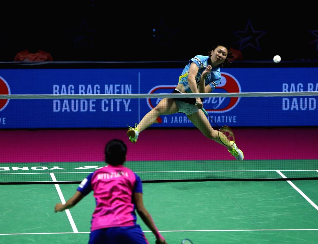 Badminton player Bwein Zhang in action during the Premier Badminton League at the GMC Balayogi SATS Indoor Stadium in Hyderabad on Feb 3, 2020.