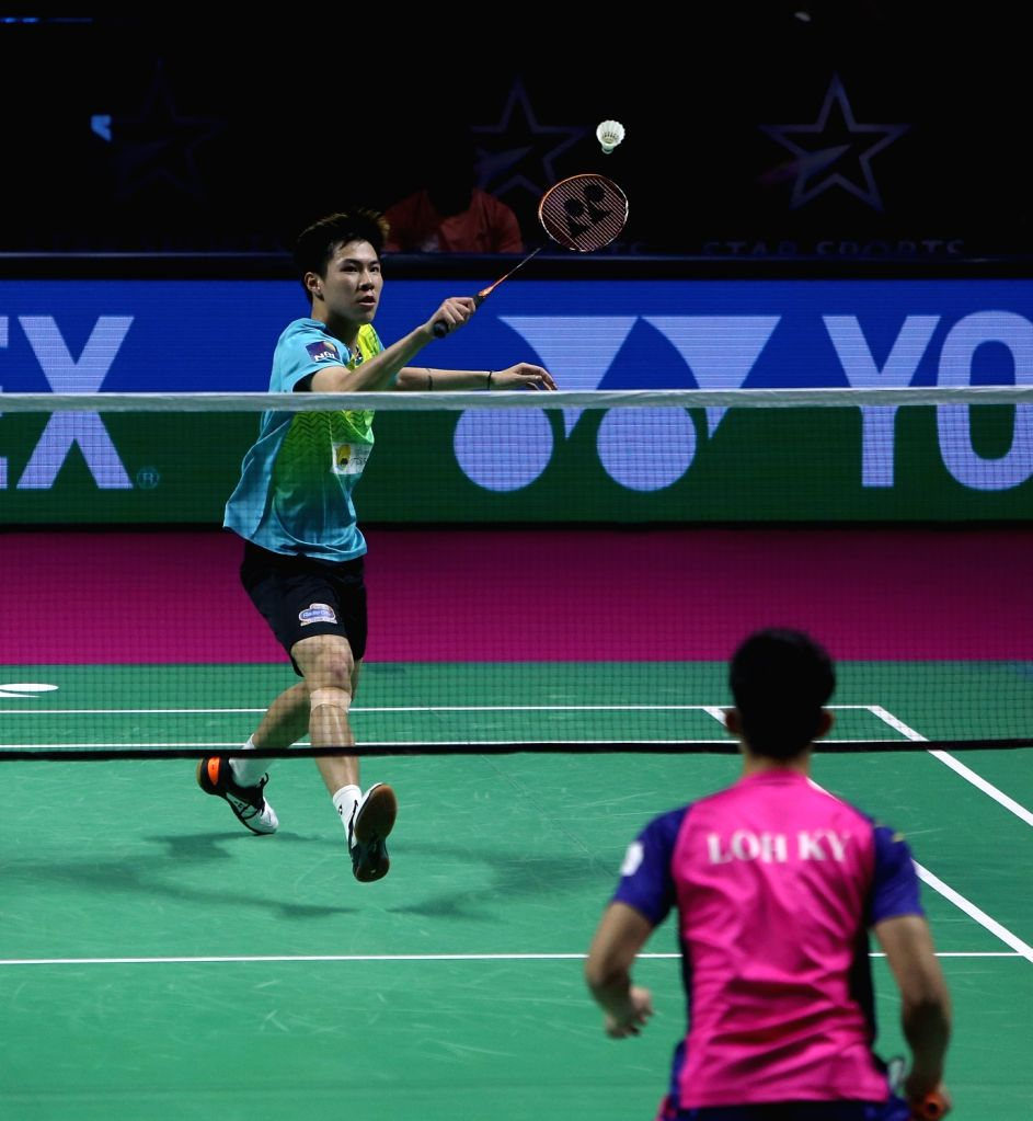 Badminton player Lee Yiu in action during the Premier Badminton League at the GMC Balayogi SATS Indoor Stadium in Hyderabad on Feb 1, 2020.