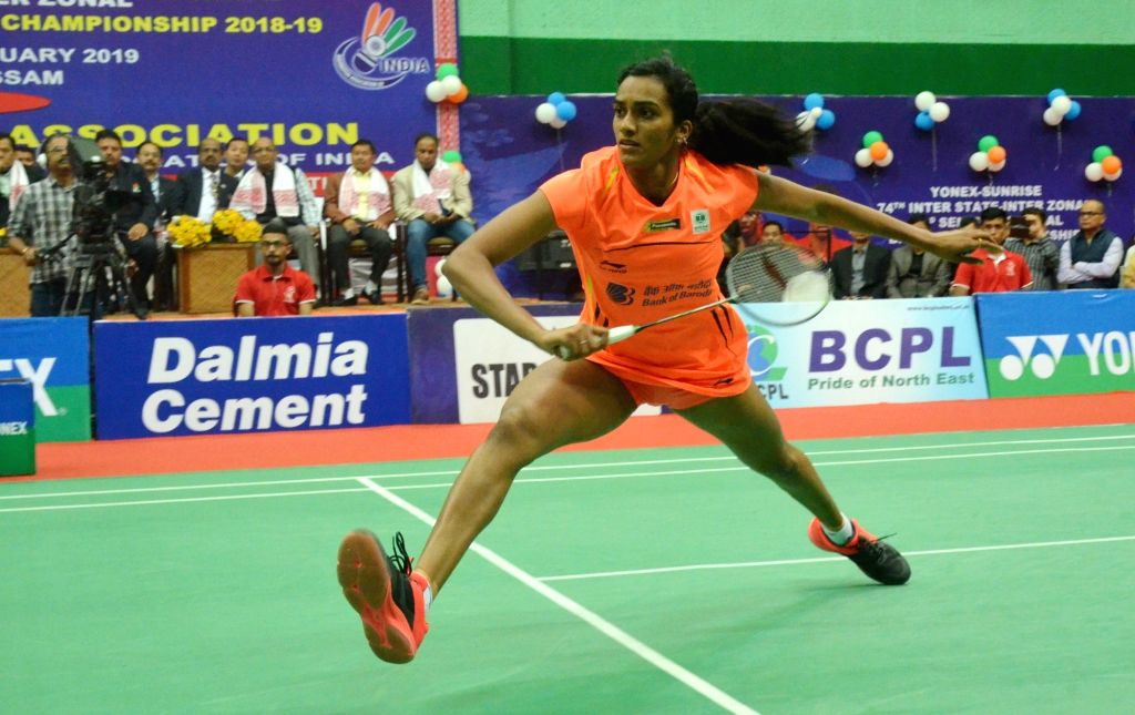 Badminton player PV Sindhu in action against Saina Nehwal during 83rd Senior National Badminton Championship women's final in Guwahati on Feb 16, 2019.