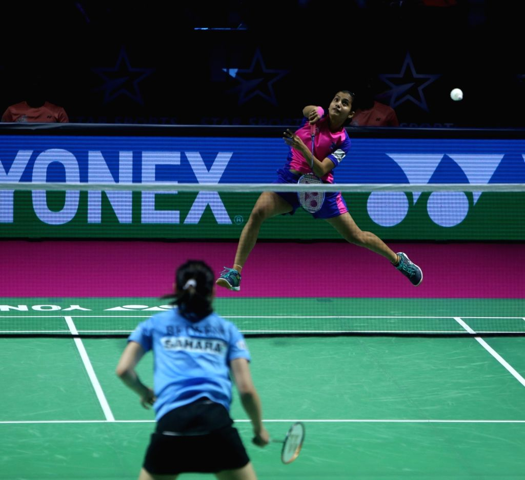 Badminton player Rituparna Das in action during the Premier Badminton League at the GMC Balayogi SATS Indoor Stadium in Hyderabad on Feb 3, 2020.