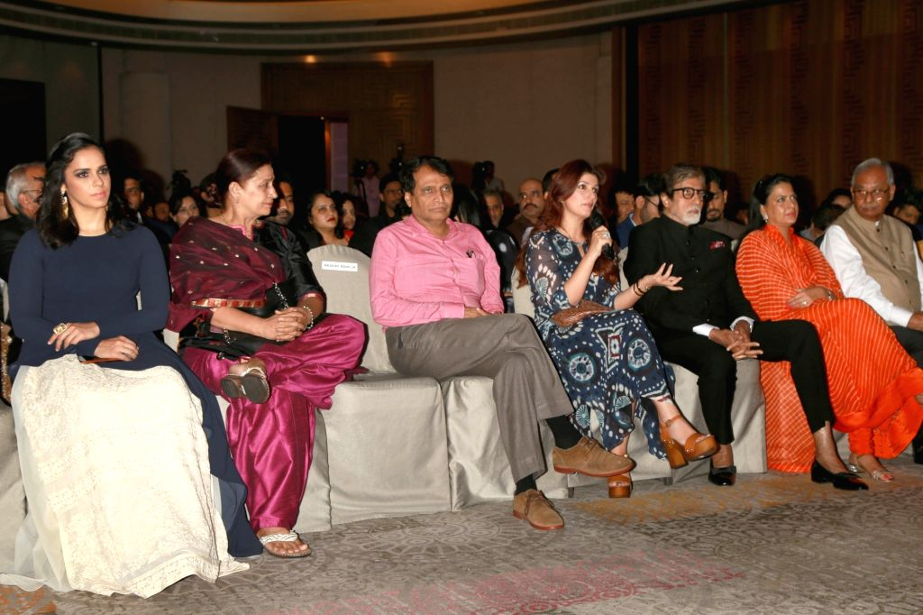 "Badminton player Saina Nehwal, Union Railway Minister Suresh Prabhu, Twinkle Khanna and actor Amitabh Bachchan at the ""Lloyd Outlook Social Media Awards"" ceremony in New Delhi on ... - Suresh Prabhu, Khanna and Amitabh Bachchan"