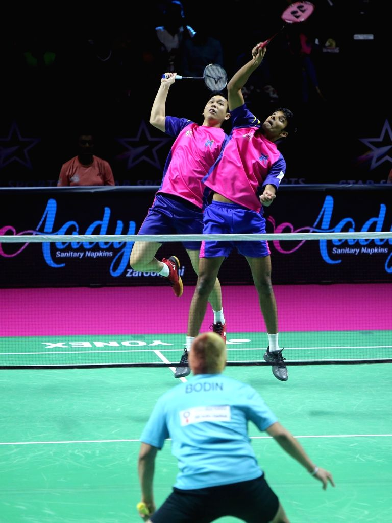 Badminton players Hendra Setiawan and Chirag Shetty in action during the Premier Badminton League at the GMC Balayogi SATS Indoor Stadium in Hyderabad on Feb 1, 2020. - Chirag Shetty