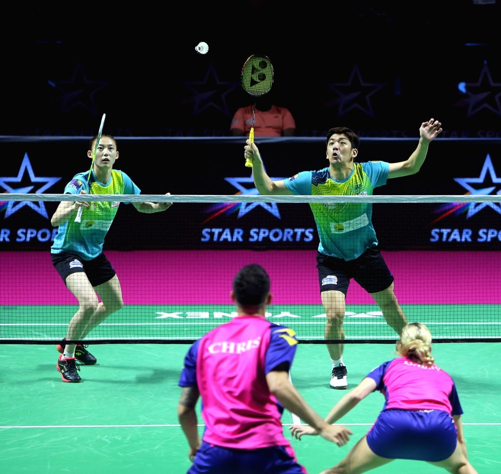 Badminton players Kim Ha Na and Lee Yong Dae in action during the Premier Badminton League at the GMC Balayogi SATS Indoor Stadium in Hyderabad on Feb 1, 2020.