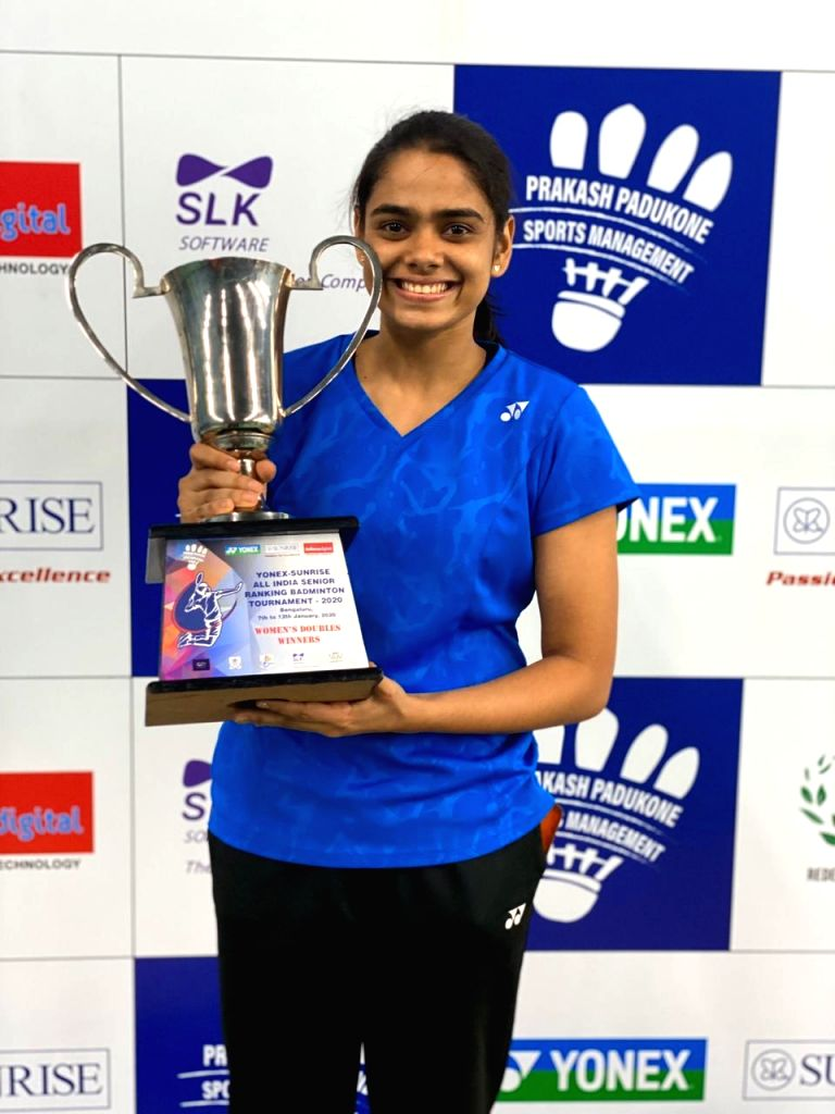 Badminton players Rutaparna Panda poses with her Womens' Doubles trophy at the Yonex Sunrise All India Senior Ranking Tournament in Bengaluru on Jan 12, 2020.