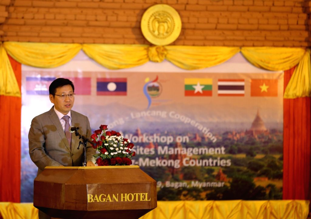 BAGAN, Feb. 20, 2019 - Chinese Ambassador to Myanmar Hong Liang speaks during a workshop on heritage sites management in Lancang-Mekong countries in Bagan, Myanmar, Feb. 20, 2019. Myanmar hosted a ...