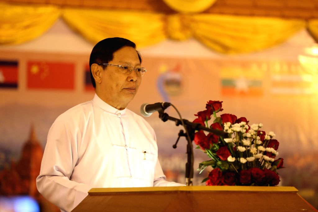 BAGAN, Feb. 20, 2019 - Myanmar Religious Affairs and Culture Minister U Aung Ko speaks during a workshop on heritage sites management in Lancang-Mekong countries in Bagan, Myanmar, Feb. 20, 2019. ... - U Aung K