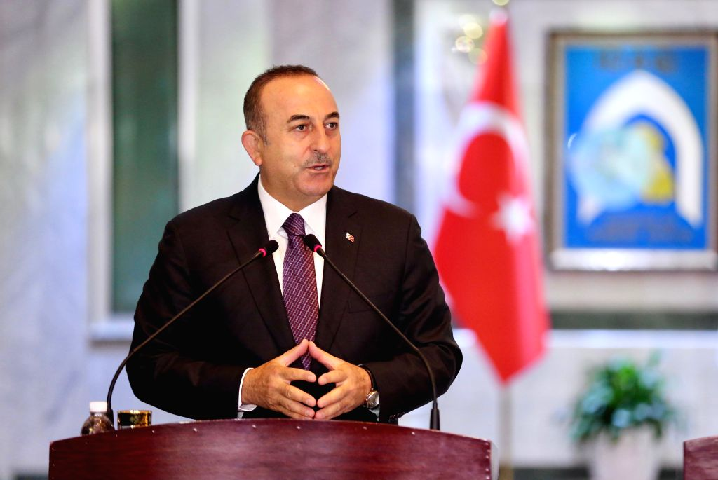 BAGHDAD, April 28, 2019 - Turkish Foreign Minister Mevlut Cavusoglu speaks during a press conference with Iraqi Foreign Minister Mohammed al-Hakim in Baghdad, Iraq, April 28, 2019. - Mevlut Cavusoglu