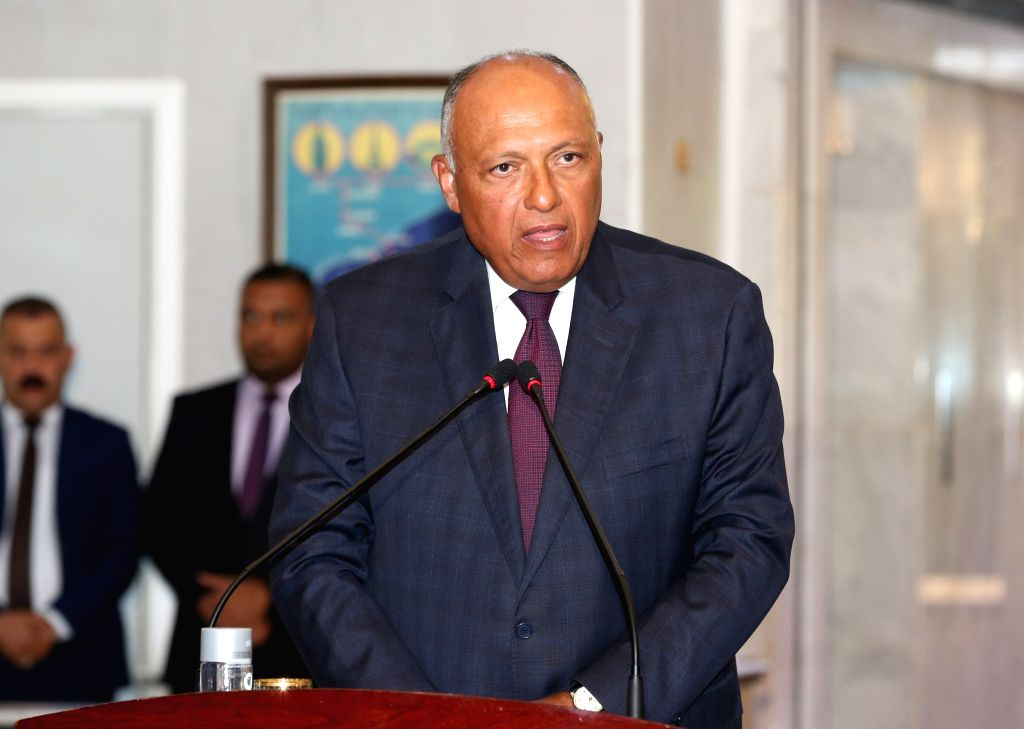 BAGHDAD, Aug. 4, 2019 - Egyptian Foreign Minister Sameh Shoukry speaks at a joint press conference in Baghdad, Iraq, on Aug. 4, 2019. Foreign ministers of Iraq, Egypt and Jordan held a meeting on ... - Sameh Shoukry
