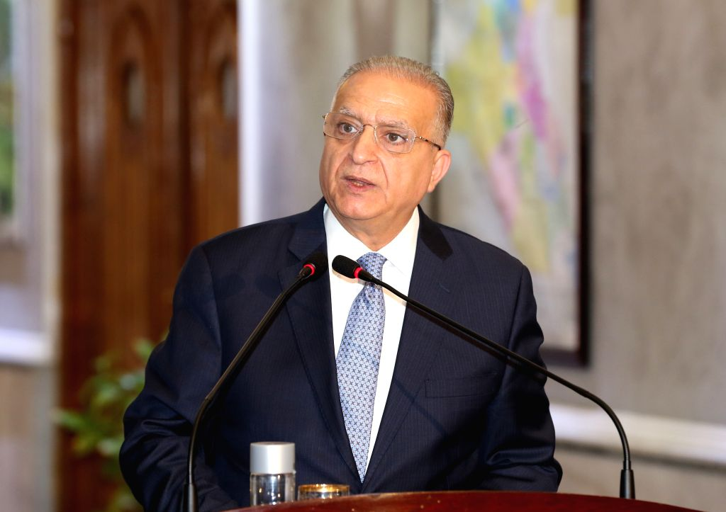 BAGHDAD, Aug. 4, 2019 - Iraqi Foreign Minister Mohammed al-Hakim speaks at a joint press conference in Baghdad, Iraq, on Aug. 4, 2019. Foreign ministers of Iraq, Egypt and Jordan held a meeting on ... - Mohammed