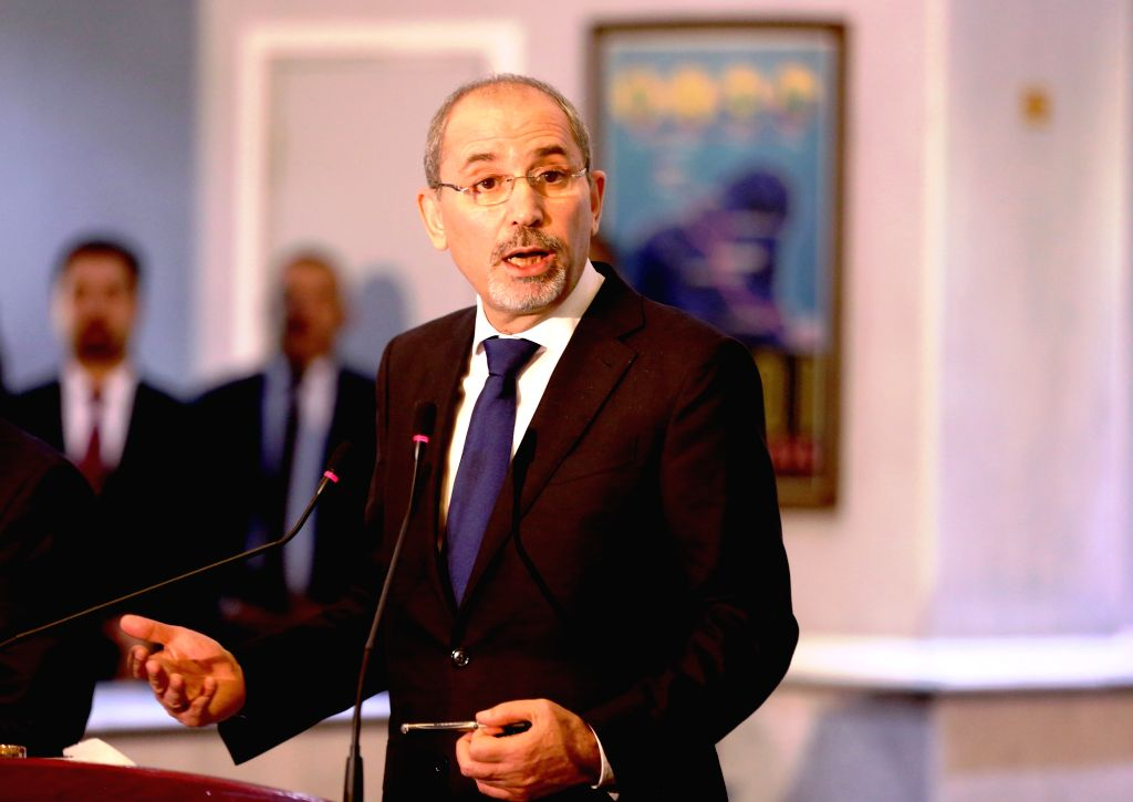 BAGHDAD, Aug. 4, 2019 - Jordan's Foreign Minister Ayman Safadi speaks at a joint press conference in Baghdad, Iraq, on Aug. 4, 2019. Foreign ministers of Iraq, Egypt and Jordan held a meeting on ... - Ayman Safadi