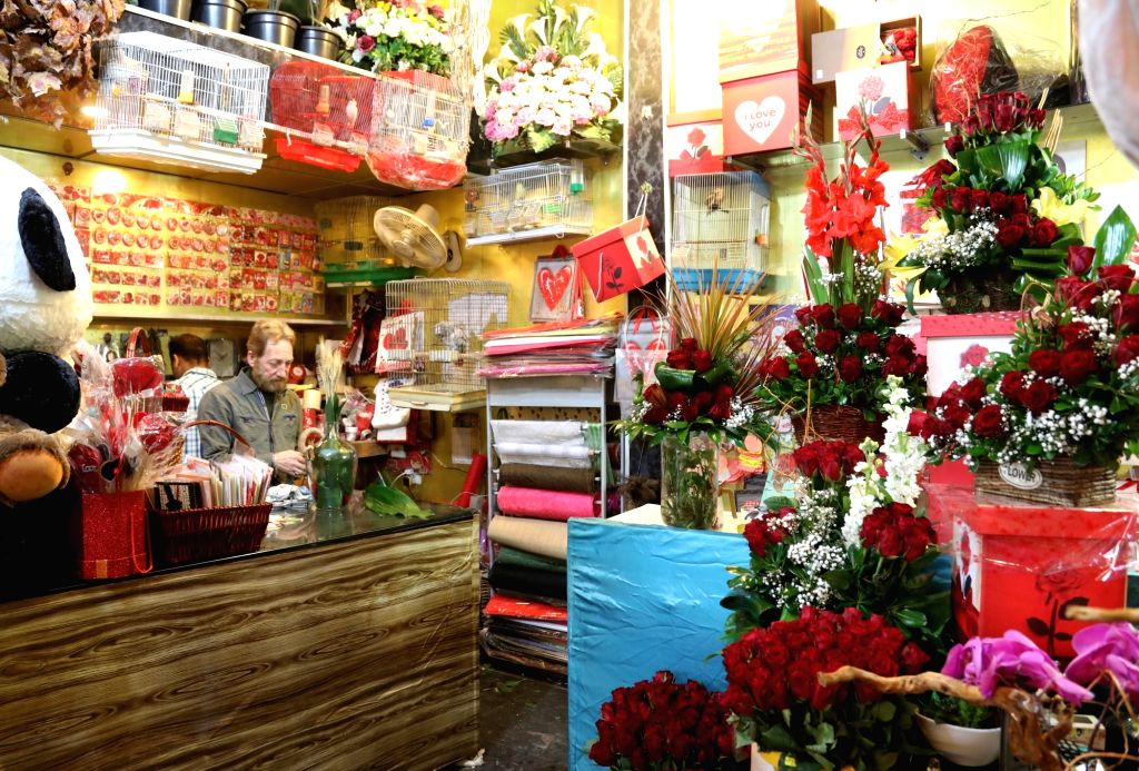 BAGHDAD, Feb. 13, 2018 - A shop is decorated with roses and gifts ahead of the Valentine's Day in Baghdad, Iraq, on Feb. 13, 2018.