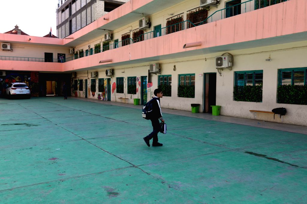 BAGHDAD, Feb. 17, 2019 - Photo taken on Feb. 17, 2019 shows an Iraqi student at an empty primary school in Baghdad, Iraq. Iraqi teachers began on Sunday a two-day nationwide strike, demanding ...