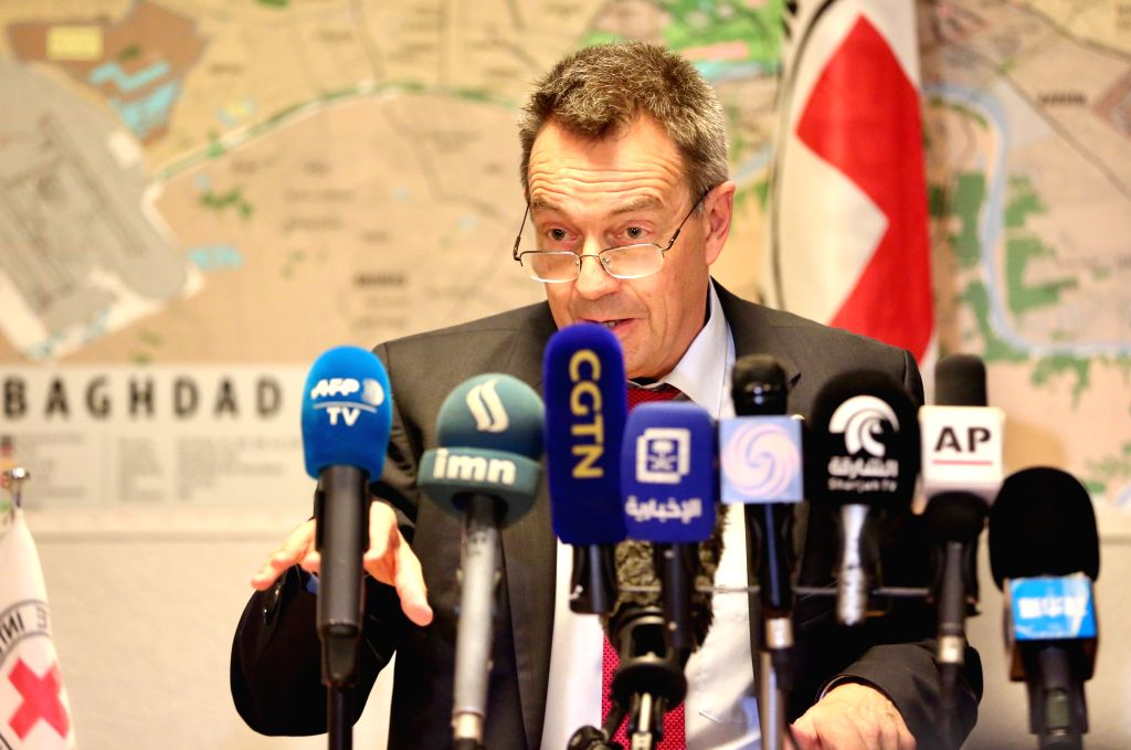 BAGHDAD, Feb. 4, 2019 - President of the International Committee of the Red Cross (ICRC) Peter Maurer speaks at a press conference in Baghdad, Iraq, Feb. 4, 2019. Peter Maurer said on Monday that ...