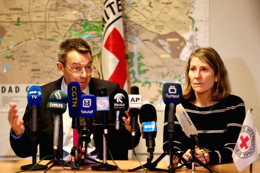 BAGHDAD, Feb. 4, 2019 - President of the International Committee of the Red Cross (ICRC) Peter Maurer (L) speaks at a press conference in Baghdad, Iraq, Feb. 4, 2019. Peter Maurer said on Monday that ...