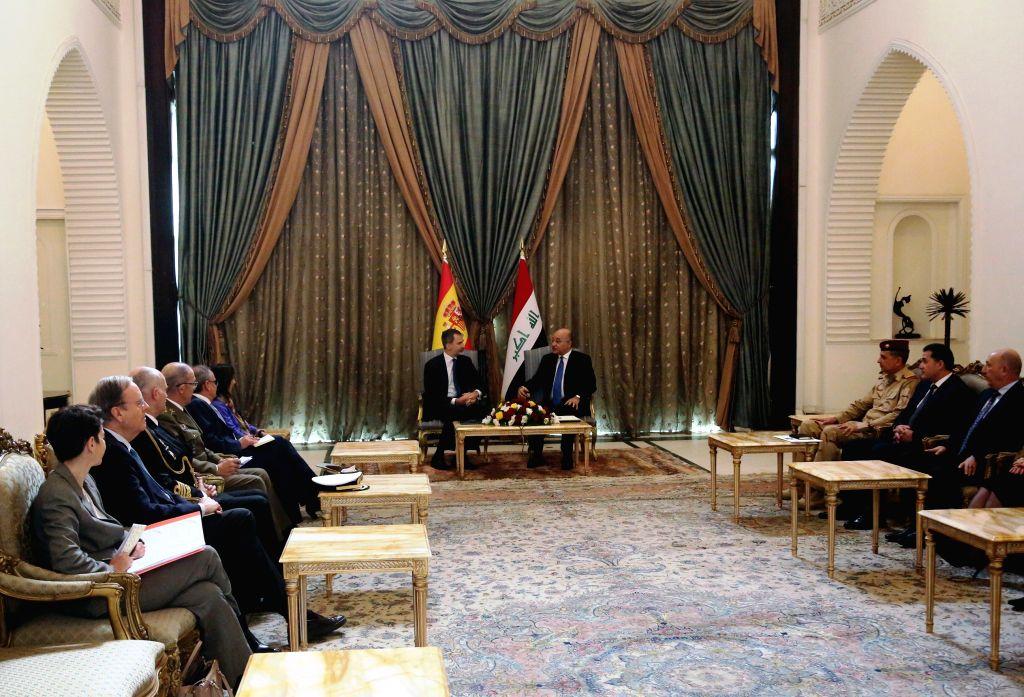 BAGHDAD, Jan. 30, 2019 - Iraqi President Barham Salih holds a meeting with visiting Spanish King Felipe VI in Baghdad, capital of Iraq, Jan. 30, 2019.
