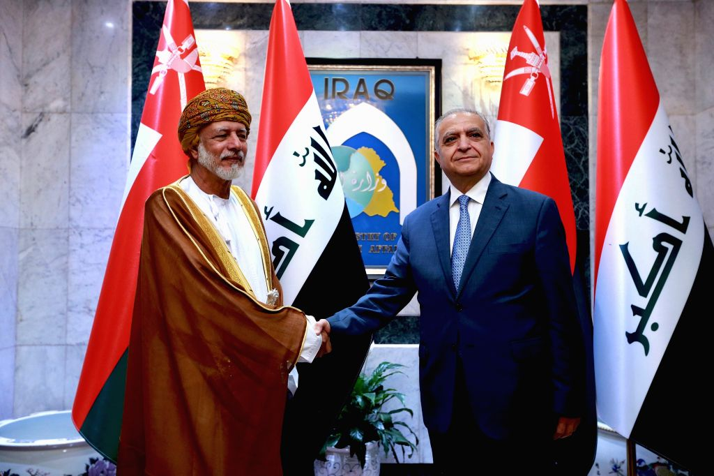 BAGHDAD, June 12, 2019 - Iraqi Foreign Minister Mohammed al-Hakim (R) meets with visiting Omani Minister of Foreign Affairs Yusuf bin Alawi bin Abdullah in Baghdad, Iraq, on June 12, 2019. Yusuf bin ... - Mohammed