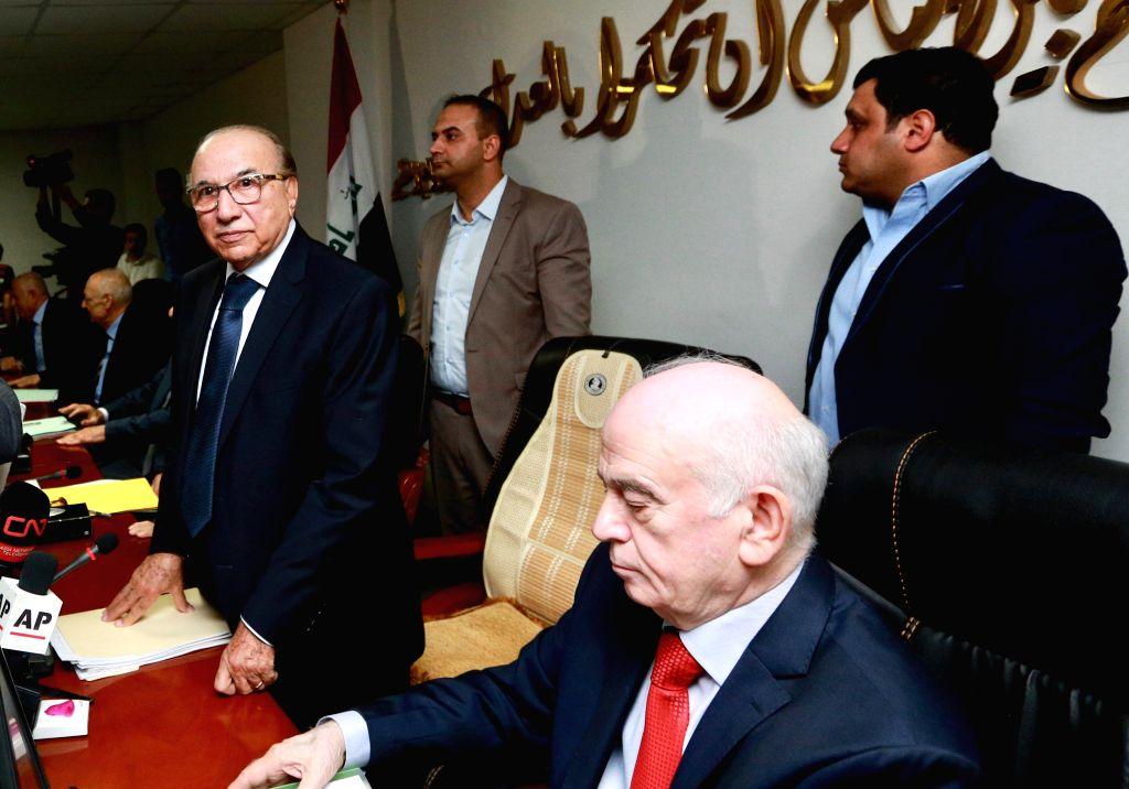BAGHDAD, June 21, 2018 - Medhat al-Mahmoud, head of the federal court, speaks during a televised press conference in Baghdad,Iraq, June 21, 2018. The Iraqi federal court Thursday said that the ...